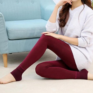 Furry Winter Warming Leggings Red Leggings
