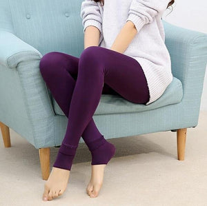 Furry Winter Warming Leggings Violet Leggings