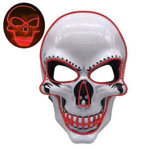 Halloween Skeleton Mask LED Glow Scary Light Mask Up Festival Cosplay Costume Supplies Party Mask Mardi Gras Mask Halloween China / Red Party Masks