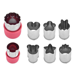 Happy Snacks Fruits/Vegetable Cutters (8 pcs set) Red set Fruits and Vegetables Cutter