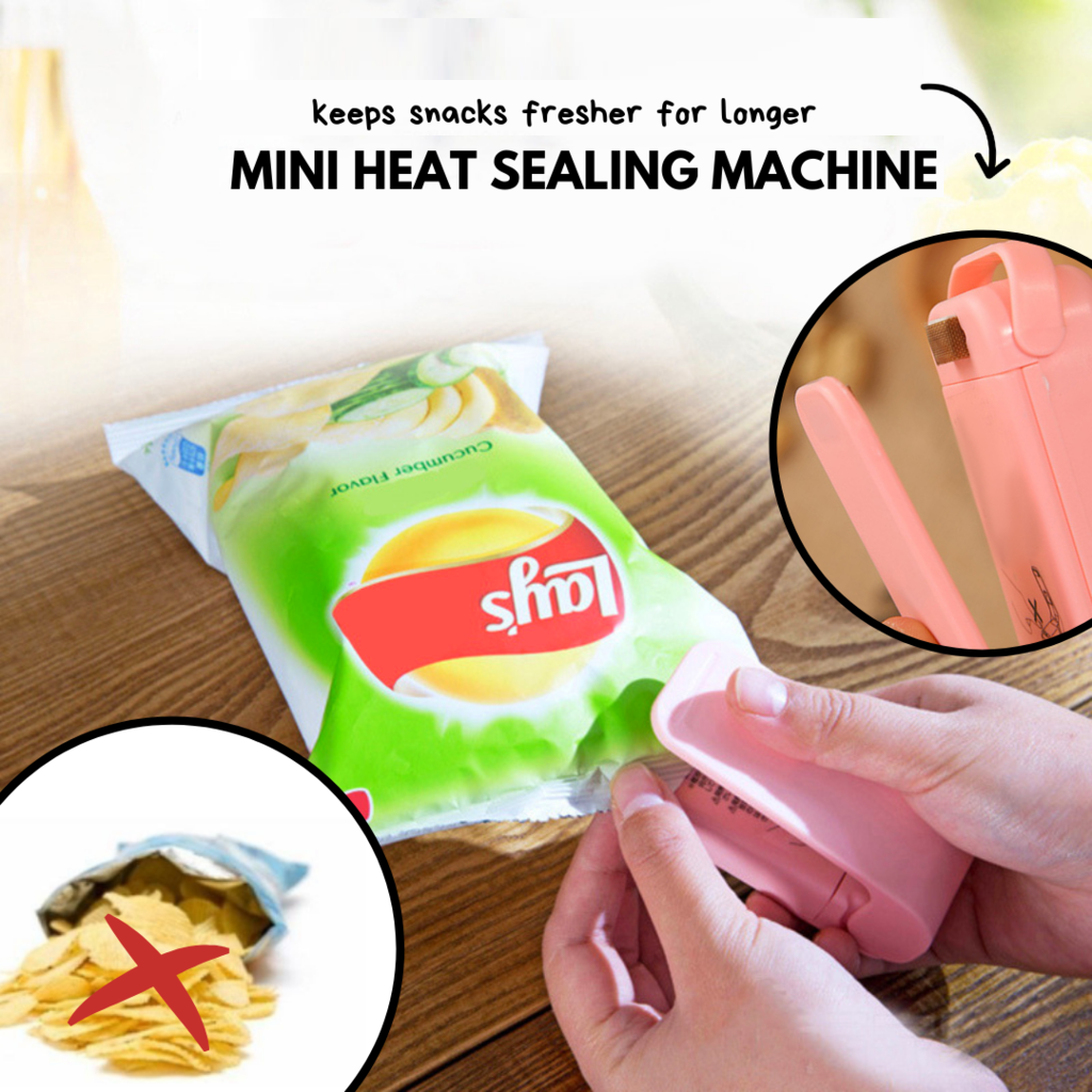 Hold & Press Mini Heat Sealer Pink Bag Clips