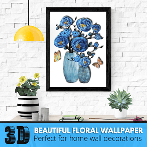 Instant Decor - 3D Flower Wallpapers Lovely blue Flower Wallpapers