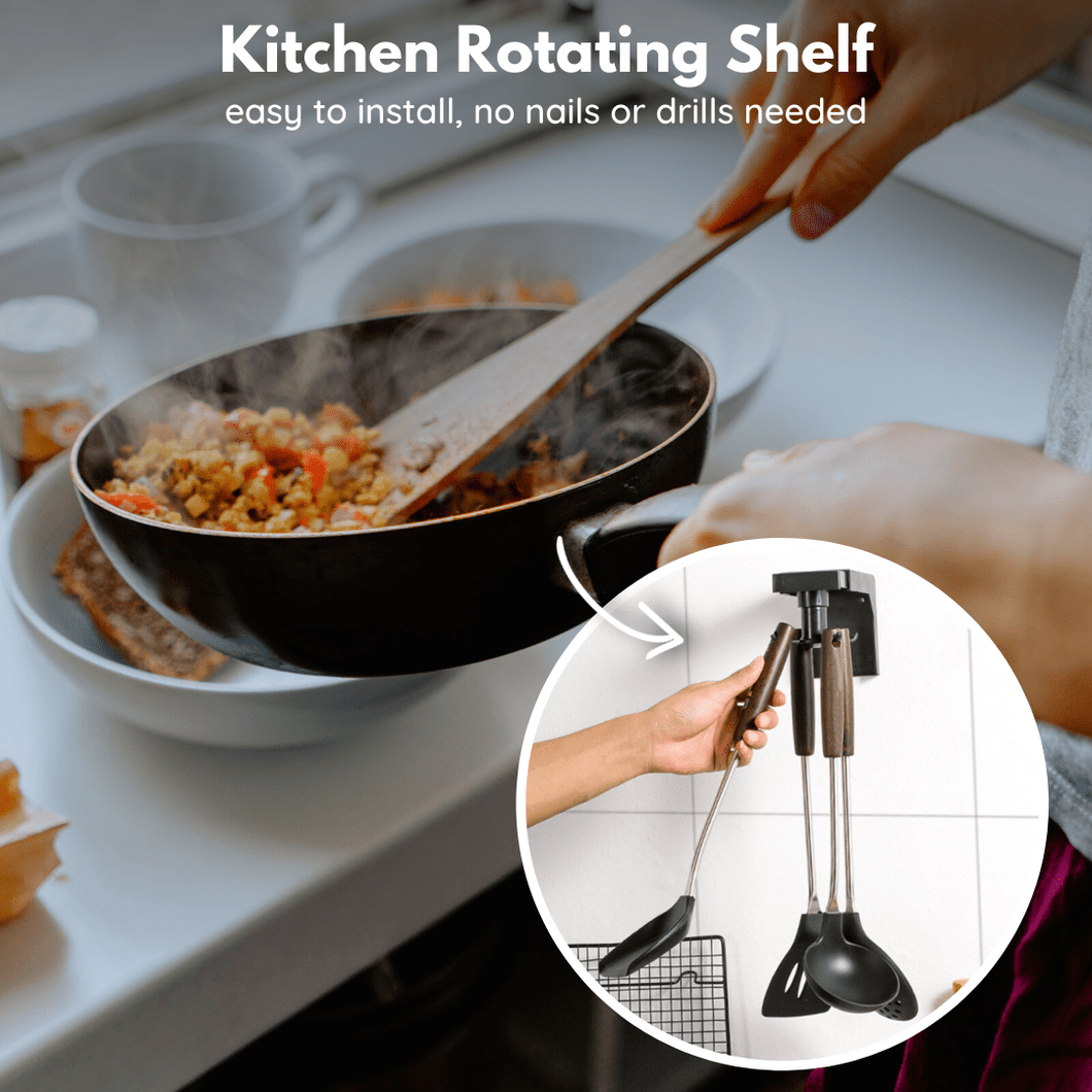 Kitchen Helper - Nail-Free Rotating Hooks 4 hooks design Rotating hooks