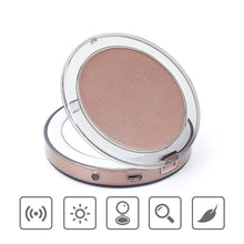 Load image into Gallery viewer, LED Mini Makeup Mirror Makeup Makeup Amplifier Handheld Folding Small Portable USB Cable Built in Battery Rechargeable Makeup Mirrors