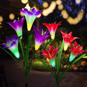 Lovely Lily Solar Powered LED Lights Red Solar Lamps