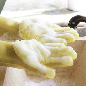 Magic Dish-washing Gloves Pair / Yellow Household Gloves