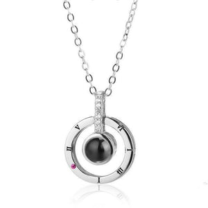 Memory of Love - 100 Languages ILY Necklace Silver Circle Pendant Necklaces