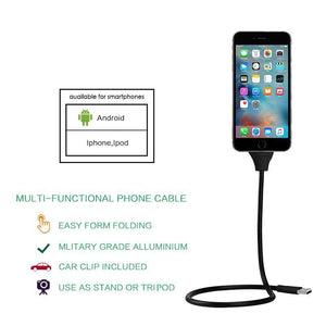 Mobile Phone Cables Flex Car Phone Holder + USB Charger