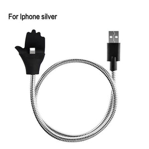 Mobile Phone Cables For iPhone Silver Flex Car Phone Holder + USB Charger
