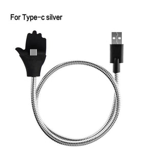 Mobile Phone Cables For Type C Silver Flex Car Phone Holder + USB Charger