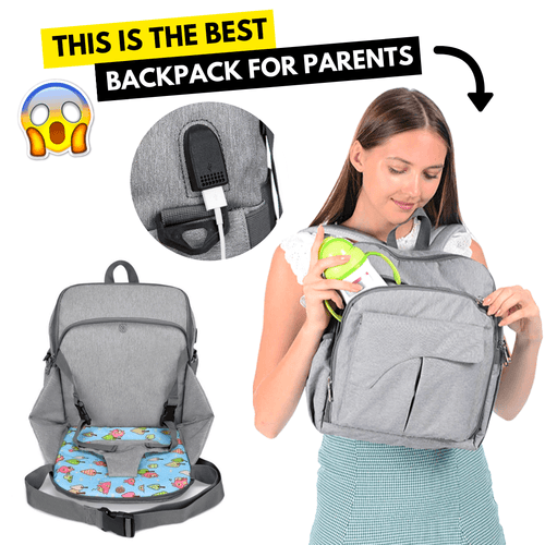 Multi-Functional Baby Diaper Chair Bag Light Gray Diaper Bags