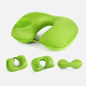 Multi-functional Inflatable Neck Pillow Green Travel Pillows