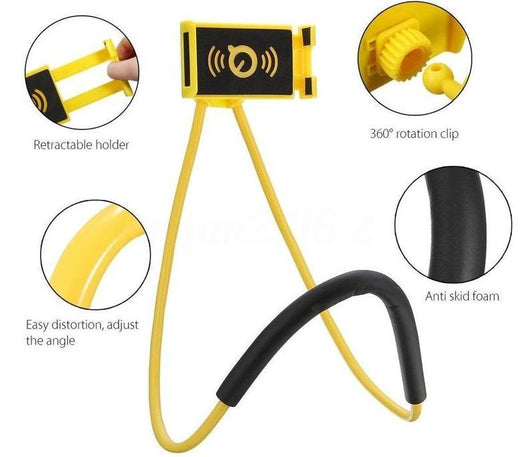 Multi-functional Neck Phone Holder Stand Yellow Mobile Phone Holders & Stands
