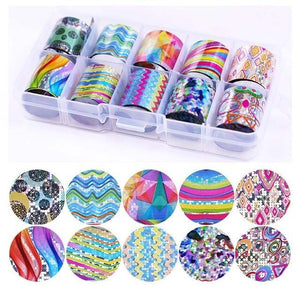 Nail Art Transfer Foils Set 4 Stickers & Decals