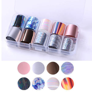 Nail Art Transfer Foils Set 7 Stickers & Decals