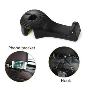 NEW GENERATION 2019 Carpus - Car Headrest Hook & Phone Holder (2 pcs) Black Car Hook