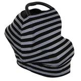 Nursing Covers Grey & Black Stripe 5 in 1 Baby Car Seat Cover and Nursing Cover