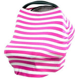 Nursing Covers Pink & White Stripe 5 in 1 Baby Car Seat Cover and Nursing Cover