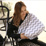 Nursing Covers Wave Grey Stripe 5 in 1 Baby Car Seat Cover and Nursing Cover