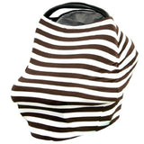 Nursing Covers White & Brown Stripe 5 in 1 Baby Car Seat Cover and Nursing Cover