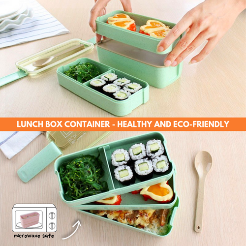 On-the-Go 3 Layered Lunchbox Green Lunch Boxes