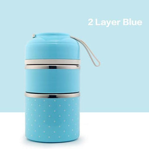 On The Go Lunch Box Blue 2 Layer Lunch Box