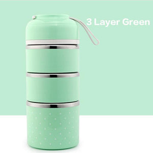 On The Go Lunch Box Green 3 Layer Lunch Box