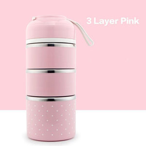 On The Go Lunch Box Pink 3 Layer Lunch Box