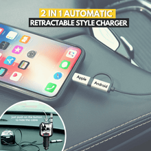 Load image into Gallery viewer, One Push Button - 2 in 1 Car Retractable Charger Cool dog Retractable Charger