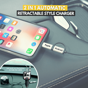 One Push Button - 2 in 1 Car Retractable Charger Cool dog Retractable Charger