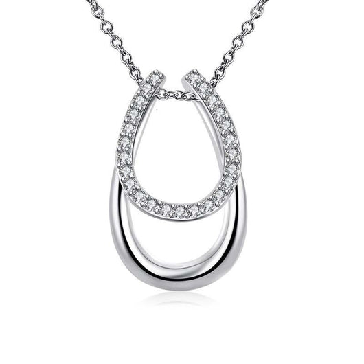 Pendant Necklaces 925 Sterling Silver and Crystal Double Horseshoe Pendant Necklace