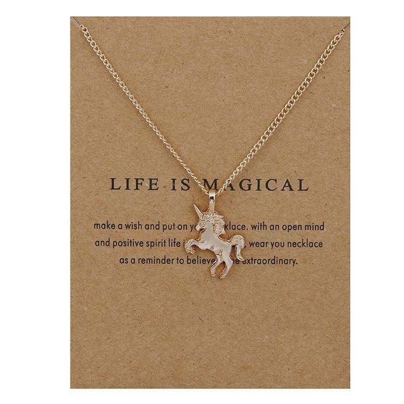 Pendant Necklaces Gold - With Card Life Is Magical Unicorn Horse Necklace
