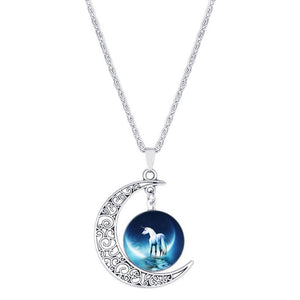 Pendant Necklaces Moon Pendant White Horse Necklace
