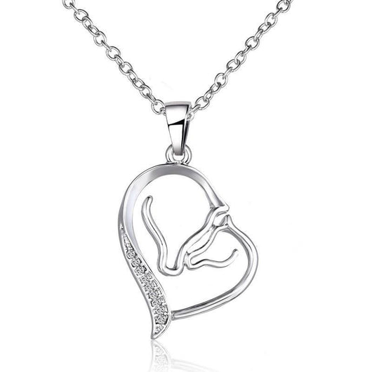 Pendant Necklaces Pure Sterling Silver Mother's Heart Horse Necklace