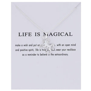 Pendant Necklaces Silver - With Card Life Is Magical Unicorn Horse Necklace