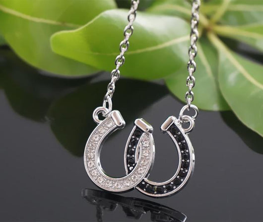 True Crystal Double Horseshoe Pendant Necklace