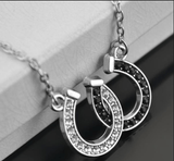 Pendant Necklaces True Crystal Double Horseshoe Pendant Necklace