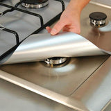 Reusable Stove Protector Covers (4 pcs set) Silver Stove Covers