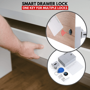 Safety On - Smart Drawer Lock (3 pcs set) Set A (1 door lock with 1 keychain & 1 x RFID card) Drawer Look