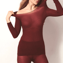 Load image into Gallery viewer, Seamless Ultra-thin Thermal Innerwear Women / Wine Thermal Innerwear
