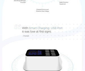Smart 8-Port USB Charger EU Mobile Phone Chargers