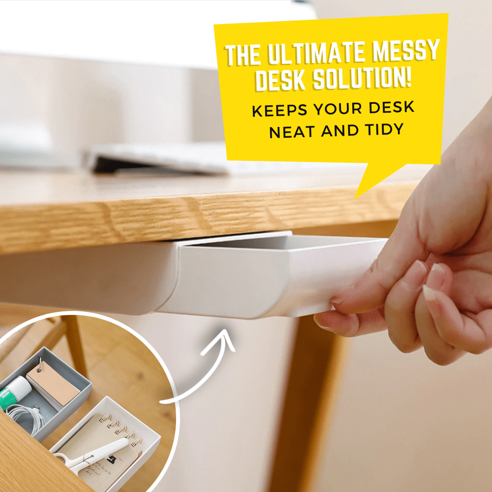 Stick & Access Under Table Drawer White Drawer Organizer