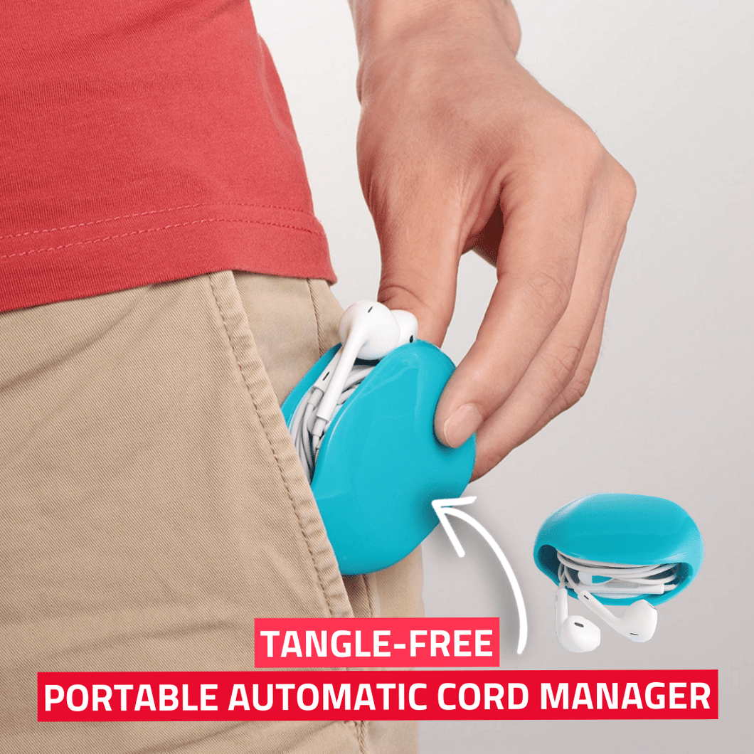Tangle-Free - Portable Automatic Cord Manager White Cable Winder