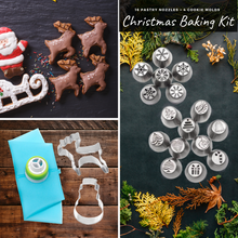 Load image into Gallery viewer, Tasty Baking - Christmas Nozzles & Cutter Kit (22 pcs set) Cookie Tools