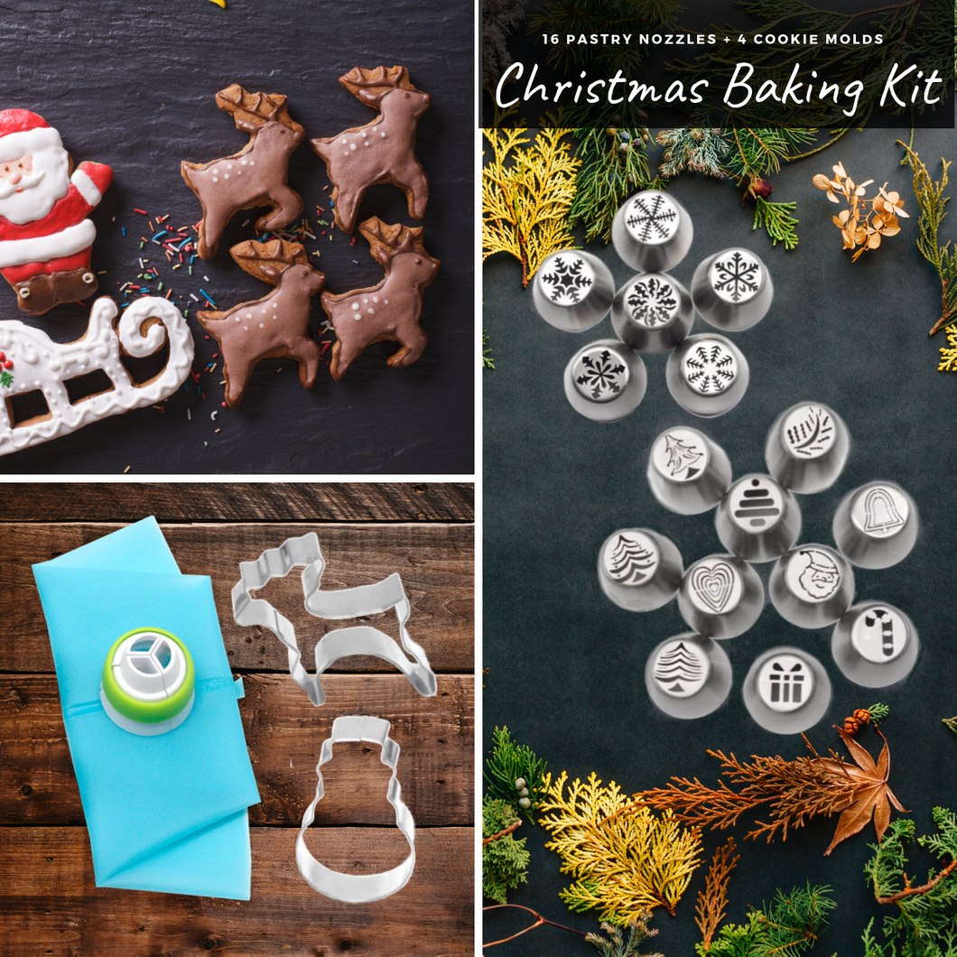 Tasty Baking - Christmas Nozzles & Cutter Kit (22 pcs set) Cookie Tools