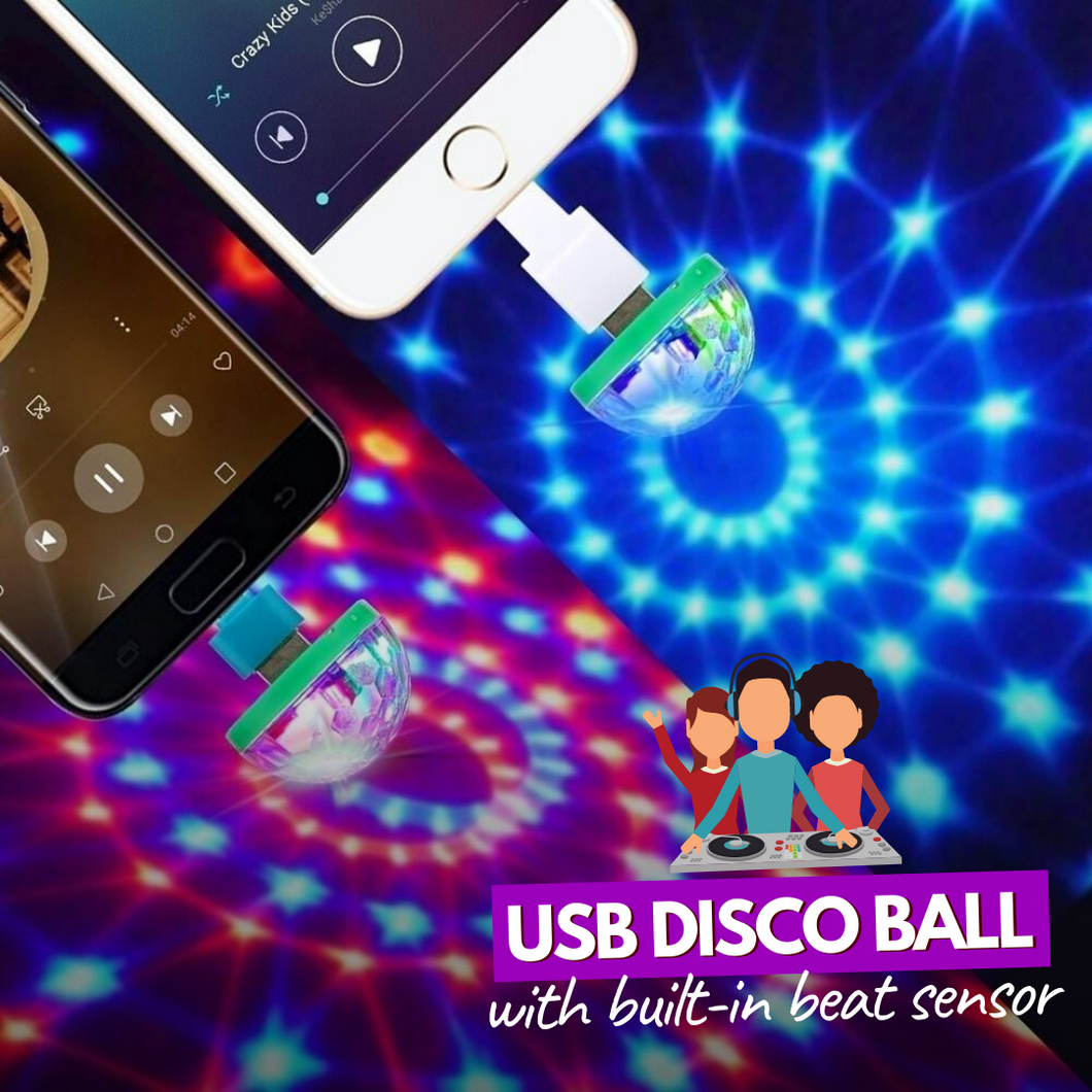 Turn The Lights On! USB Disco Ball (2 pcs set) Green / Android Disco Lights