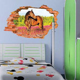 Wall Stickers 3D Broken Wall Pattern Horse Wall Decals