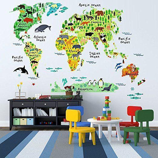 Wall Sticker World Map.Animal World Map Wall Sticker Fox Stark