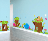 Wall Stickers Cartoon Monkey & Owl Height Measure Wall Stickers