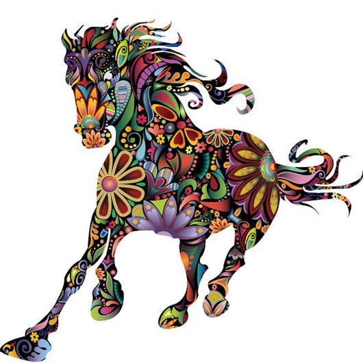 colorful floral horse wall sticker decor – fox stark